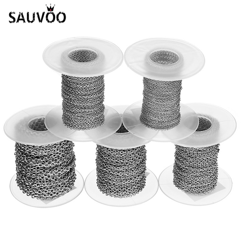 SAUVOO 10Yards/roll 1/1.5/2/2.5/3mm Width Stainless Steel Bulk Diy Chains Fit Necklaces Bracelets Link Chain For Jewelry Making