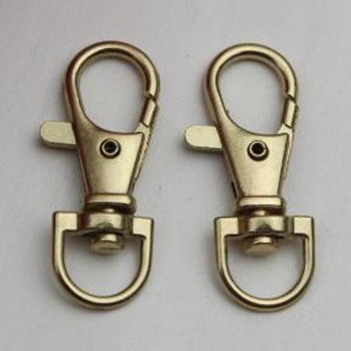 LHLL!Gold Tone Metallic Handbag Strap Decor Snap Hook Lobster Clasp 10 Pcs