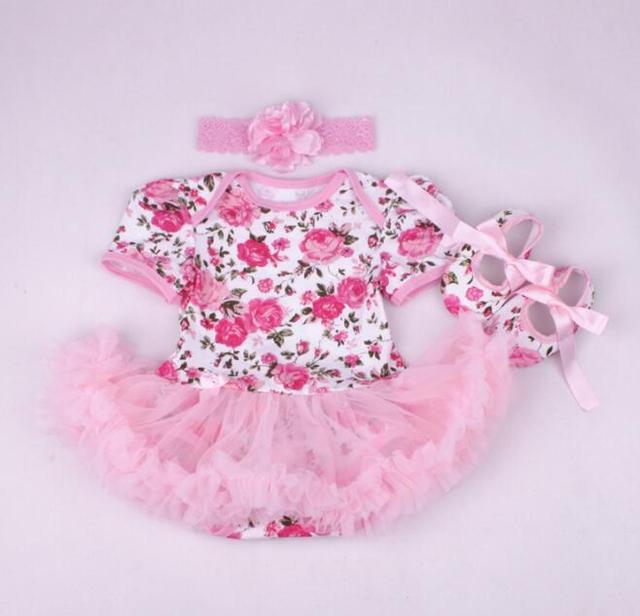 Baby girl одежда новорожденный одежда Устанавливает юбка туту Ползунки Платье Цветок Комбинезон + Оголовье + Shoesh Партии Костюмы ropa bebe