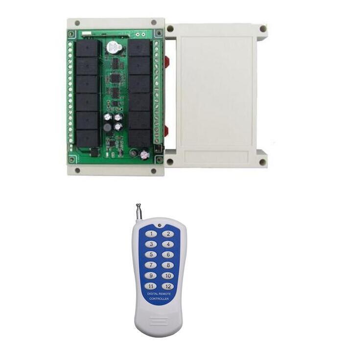Universel DC12V 12 CH 12CH RF Sans Fil Système de Commutateur de Commande À Distance, 315/433 mhz Émetteur Récepteur pour porte de garage porte
