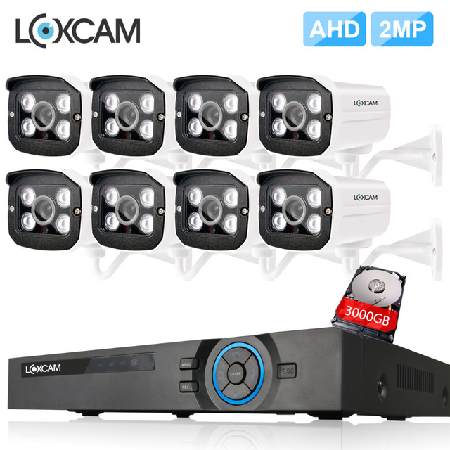 16Channel HDMI 1080P AHD DVR System 8pcs 2MP AHD CVI IP66 In/outdoor Waterproof CCTV Camera System P2P Video Surveillance set 2T
