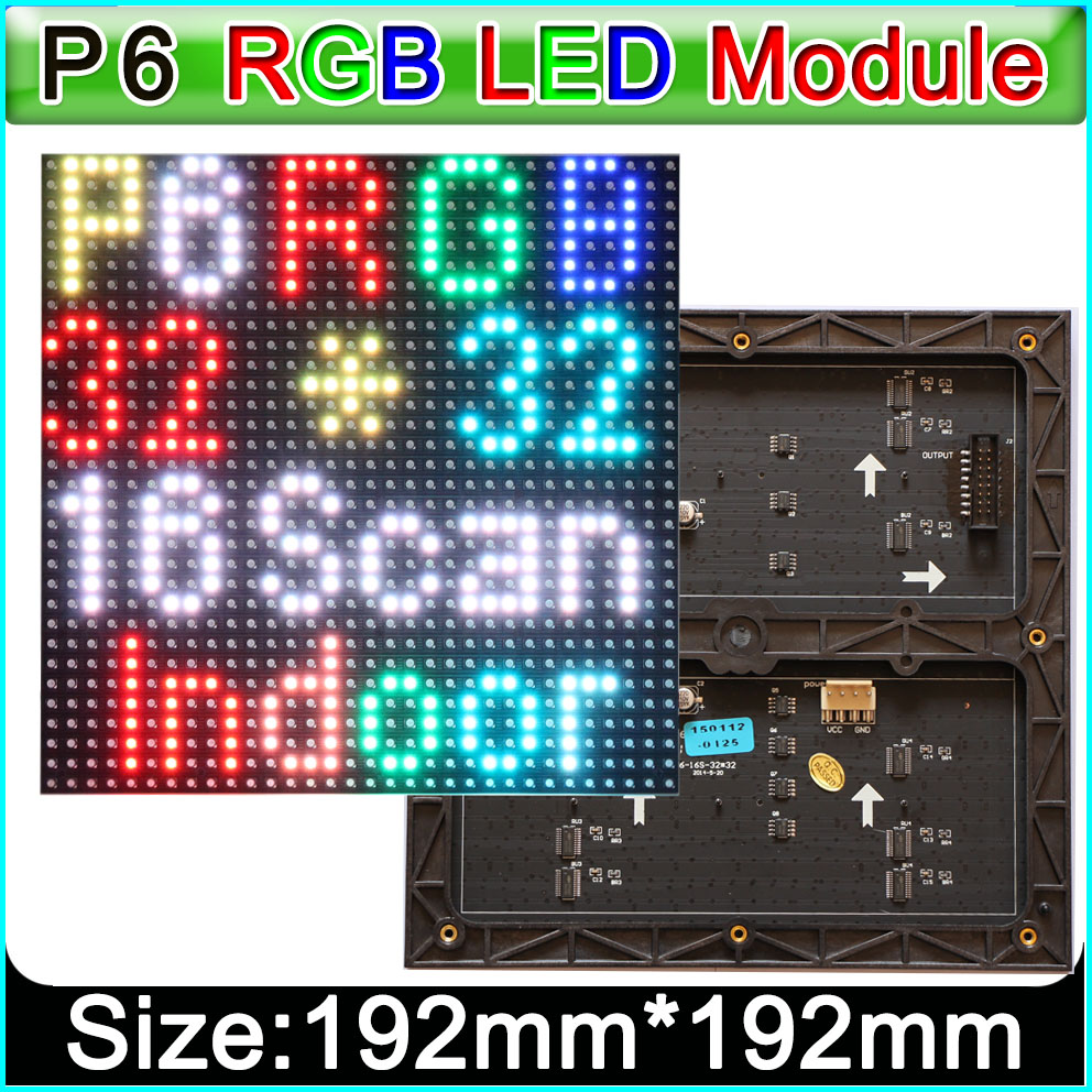 P6 RGB SMD 192mm 192mm 32 32pixels LED Display Module 1 16 scan drive indoor Full