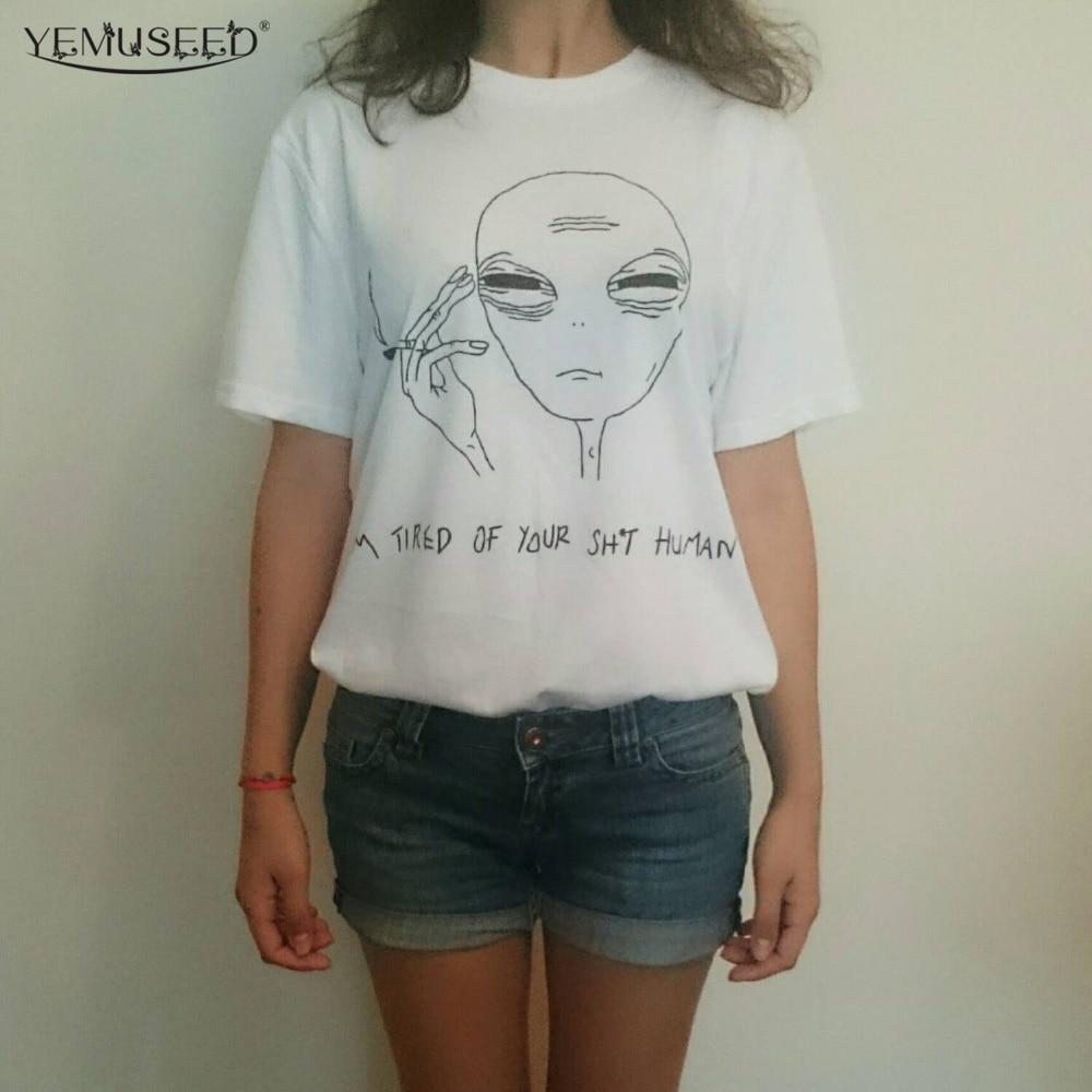 0254a4a8b3fca Novas Mulheres Camiseta 18 Estilo Fumar ET Estrangeiro Impressão Engraçado  Ocasional T-shirt Para Senhora Branco Plus Size Top Tees Hipster