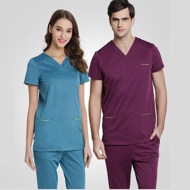 9dbc30d5842 Infinity Scrubs Nursing Uniforms Medical Scrub Sets Outlet 4 Ways Stretch  Work Clothing Short Sleeves Dentist Workwear