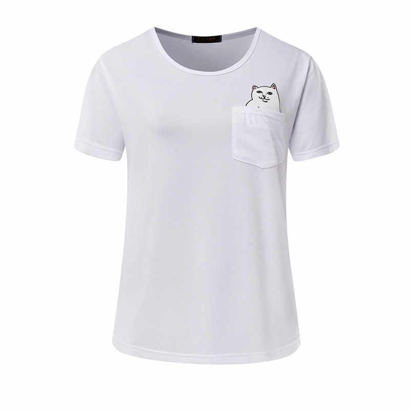 Модная забавная Футболка с принтом «Кот» Дешевые Кот в карман футболка свободного покроя с коротким рукавом Футболка NV09-J
