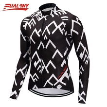 NEW Team FUALRNY Long sleeve Ropa Ciclismo Cycling Jersey Mountian Bicycle Clothing Bike Clothes Man 100% Polyester White stripe