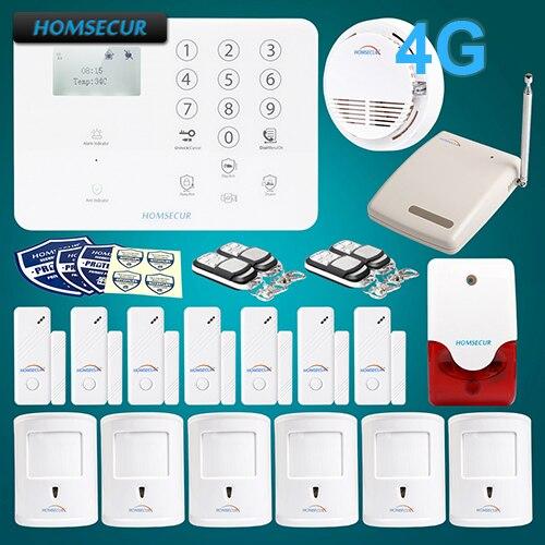 Système d'alarme anti-intrusion HOMSECUR sans fil 4G LCD + 6 GA01-4G-W de capteur PIR respectueux des animaux de compagnie