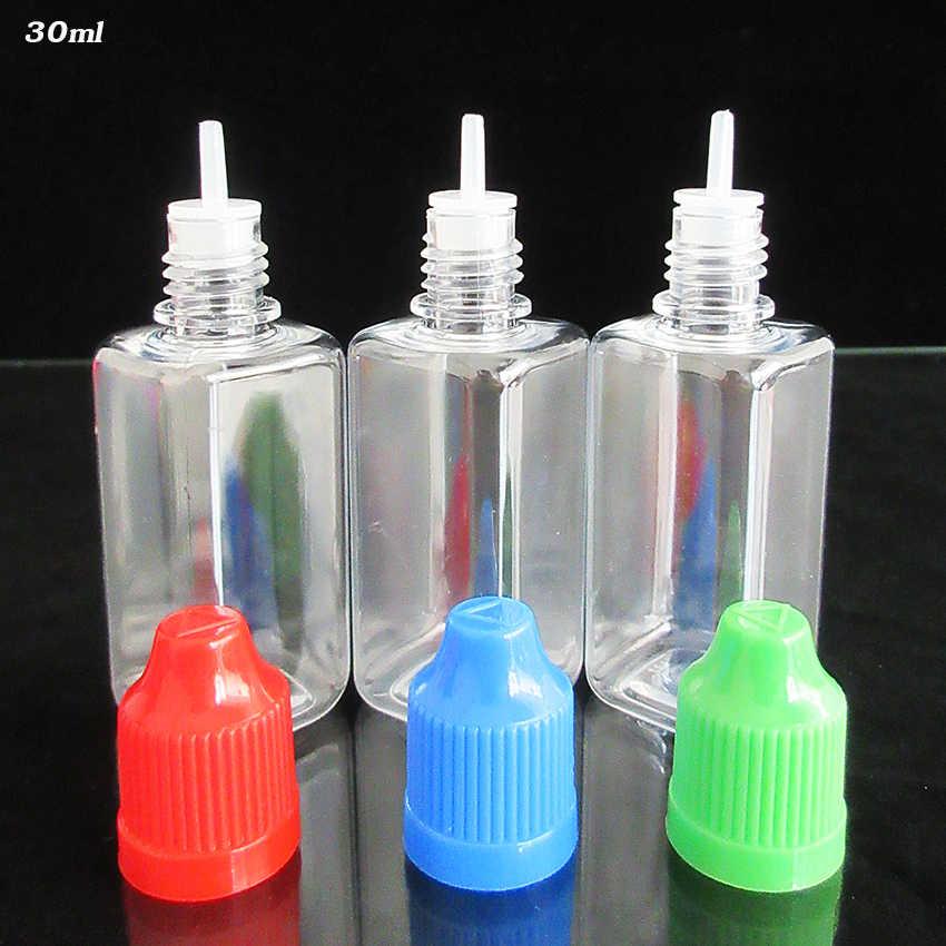 30 cái 30 ml Vuông Chai Nhỏ Giọt Rỗng E lỏng Ejuice Chai, Nhựa PET rõ ràng Chai với Cap, sắc tố, Thuốc Nhuộm dầu Gói, màu sắc