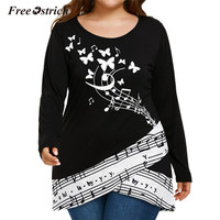 Free Ostrich Plus Size Long Blouse Women Black Music Note Butterfly Print Long Sleeve Shirt Casual