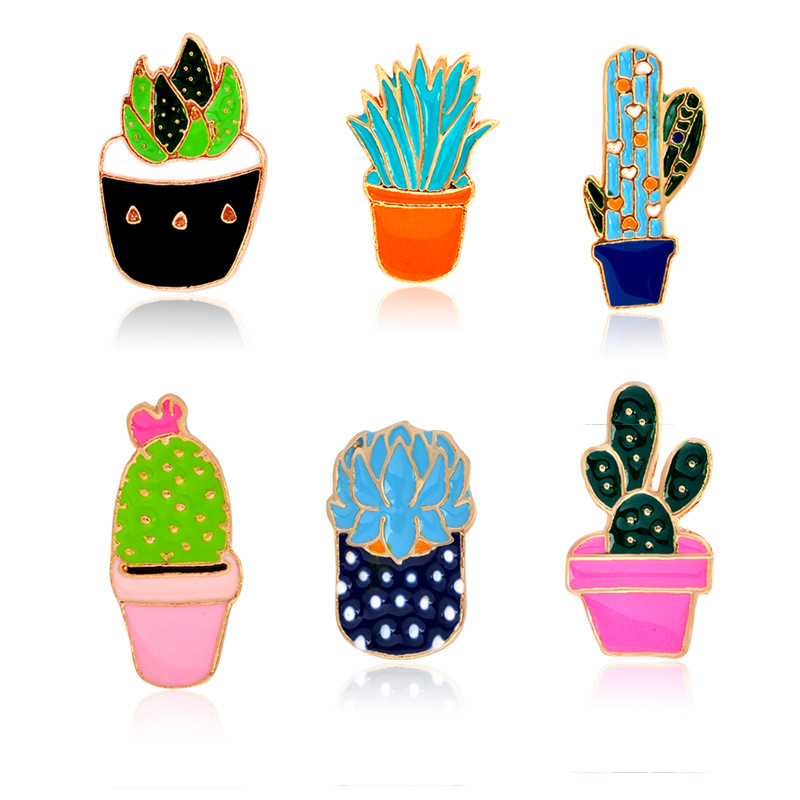 Sitaicery Cartoon Cactus Brooches Cute Plant Pot Enamel For Women Denim Jackets Lapel Pins Hat Badges Kid Jewelry Accessories in Brooches from Jewelry Accessories