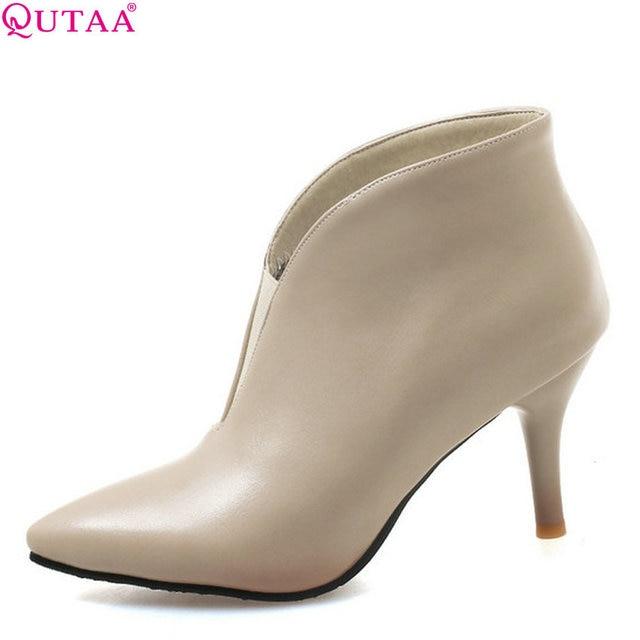 4e8d1c130 QUTAA 2019 Puleather Finos sapatos de Salto Alto Novas Mulheres Da Moda  Ankle Boots Inverno Mulher