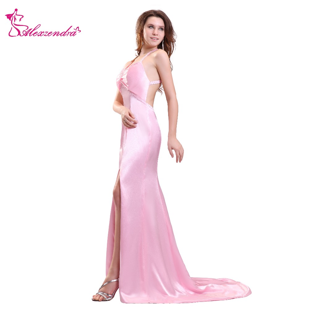 Alexzendra Pink Mermaid Sesy Prom Dresses Sweetheart Crossed Back Long  Party Dress Evening Dresses Plus Size 40425c53aa06