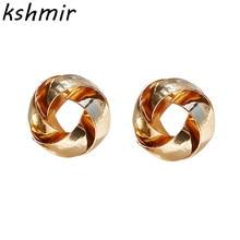 Metal hollow earrings ms Korea contracted joker distorted fashion stud geometry