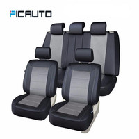 Universal Car Seat Covers Technology 3D Air Mesh Fabric & PU Leather Auto/Car Seat Protector+Side Airbag Full Set