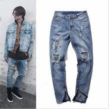 European American Style 2016 fashion brand black men jeans luxury Men's casual denim trousers Hole Slim Straight jeans for men