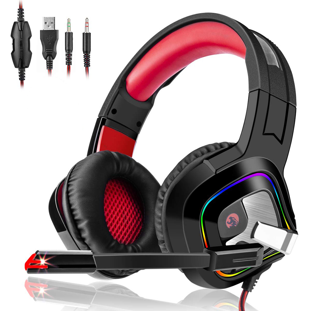 Glowing Gaming Headset with Rotate Microphone Stereo Earphones Deep Bass Headphones for PC Computer Gamer PS4 Tablet X BOX