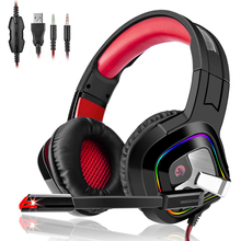 Glowing Gaming Headset with Rotate Microphone Stereo Earphones Deep Bass Headphones for PC Computer Gamer PS4 Tablet X-BOX jolly roger microphone for cellphone tablet pc musical instrument and computer