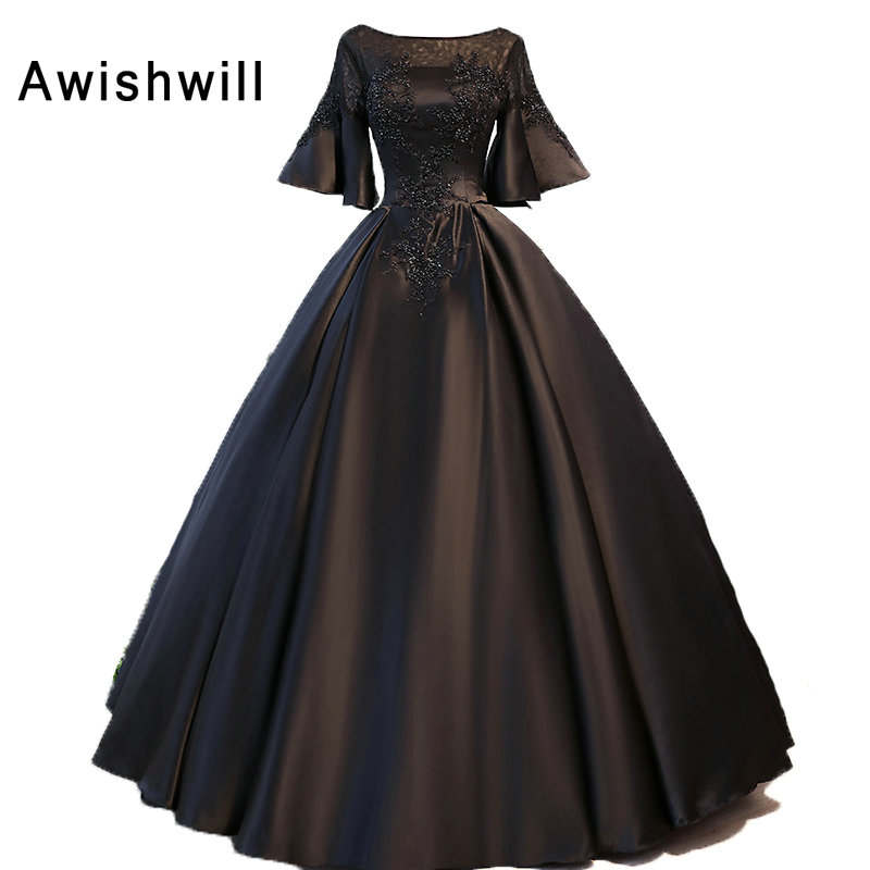 Customized Plus Size 1/2 Sleeves Beaded Appliques Satin Ball Gown ...