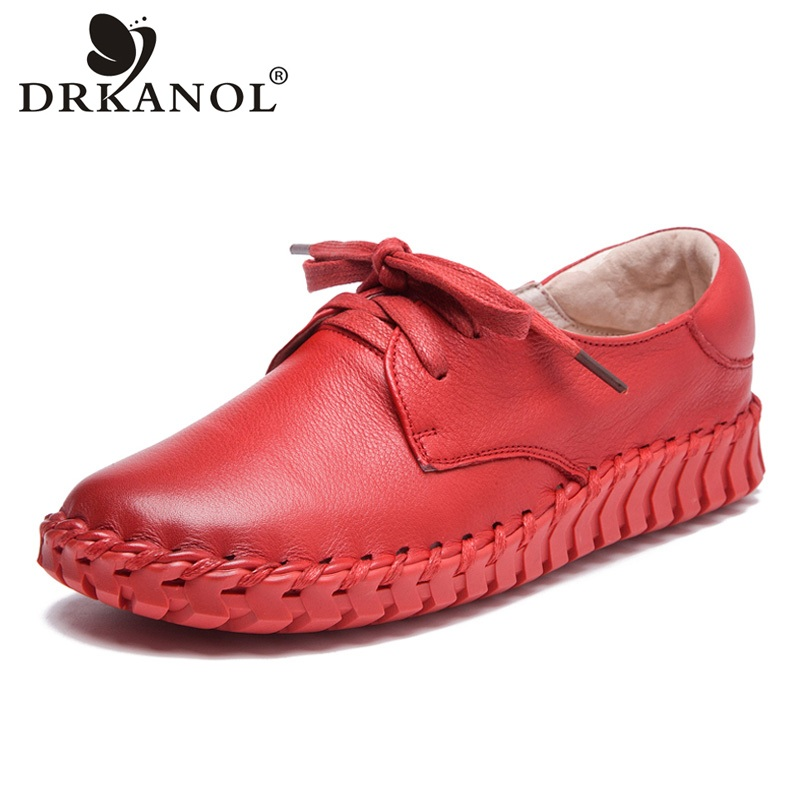 DRKANOL 2018 New Design Big Size 35-41 Handmade Women Shoes Soft Genuine Leather Flat Shoes Lace Up Round Toe Casual Shoes Woman цены онлайн