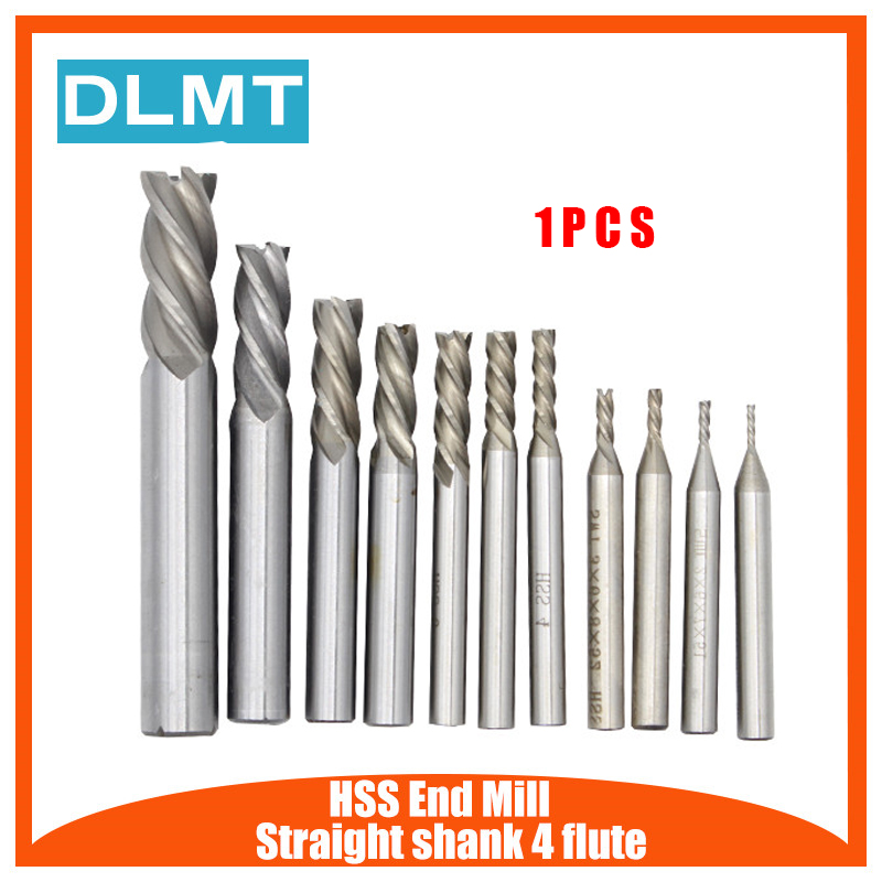 1PC HSS CNC Straight Shank 4 Flute End Mill Cutter Drill Bit Metalworking Tool 2/3/4/6/8/10/12/14mm For Milling Machine
