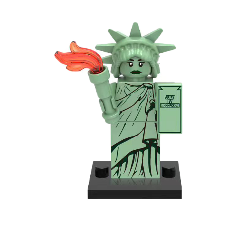 Building Block Statue Of Liberty Rocket Boy Gingerbread Man Inhumans Royal Family Figures Super Heroes Toys For Children Hobbies