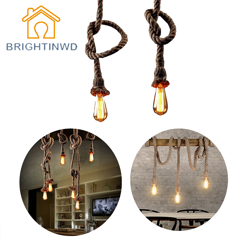 E27 Retro Vintage Rope Pendant Light Lamp Loft Creative Personality Industrial Lamp Edison Bulb American Style For Living Room retro vintage rope pendant light lamp loft creative personality industrial lamp with e27 edison bulb american style for dining