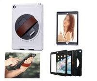 Para apple ipad 6 air 2 360 que giran resistente a prueba de golpes cubierta case hd protector de pantalla de cuero ajustable correa de mano