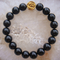 New! Charming Natural Stone Black Agate Gold Sandstone Lava 10mm Bracelet Bangle + Gift Box