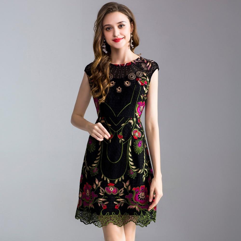 GEJIAN été femmes nouvelle robe en dentelle brodée mince élégante robe de soirée sans manches col rond robe mi-longue vestidos