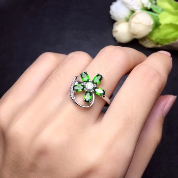 Fashion elegance Flower surround Natural green diopside Ring S925 Silver Natural gemstone Ring Women party gift fine Jewelry