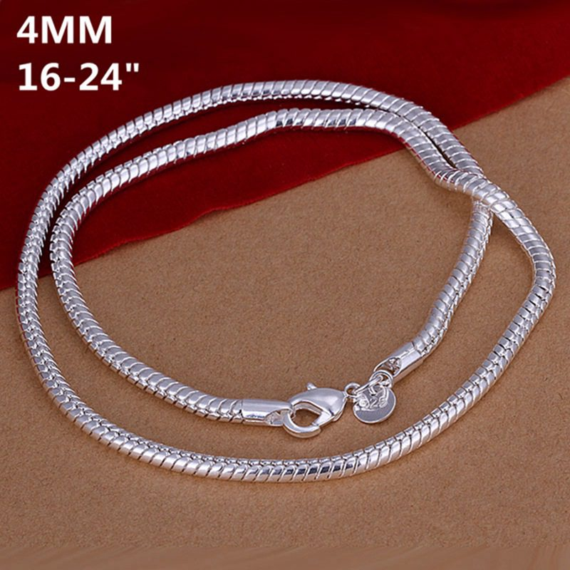 wholesale fine 925 sterling silver necklace fashion jewelry 4mm ...