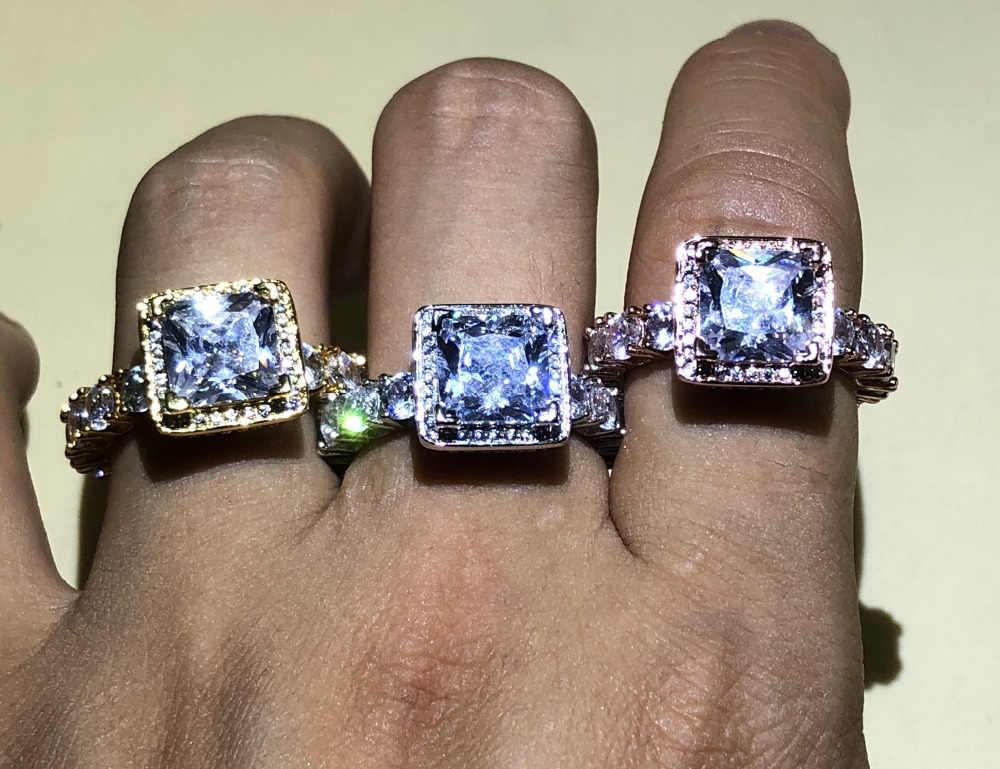 Véritable solide 925 argent et or jaune bagues de mariage bijoux pour femmes carré 3 carats Sona CZ Diamant bague de fiançailles accessoires