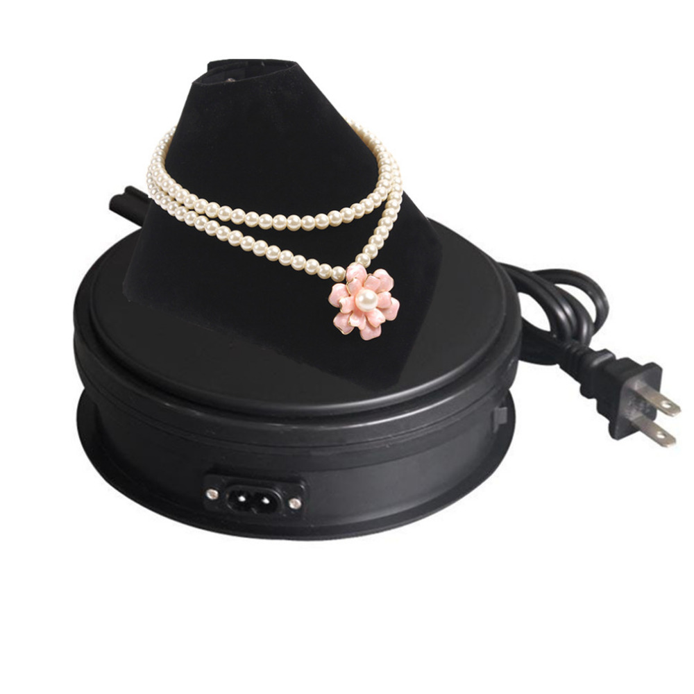 15cm Black Electric Motorized Display Stand Rotating Turntable For Jewelry Model Show And 4k 3D HD Photography Video