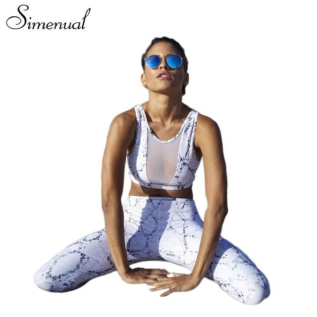 Simenual 2 ШТ. костюм для женщин сетки сращивания summer распечатать фитнес бюстгальтер леггинсы athleisure женщины костюмы сексуальная майки