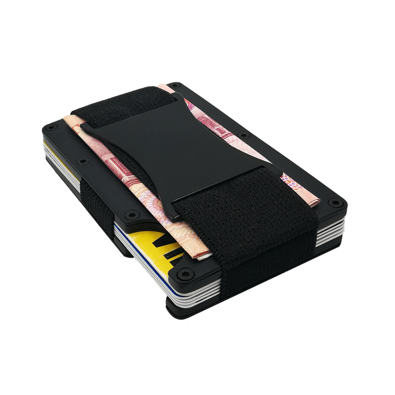 Slim Metal Wallet With Cash Strap Brand Business Credit Card ID Holder Men Rfid Mini Wallet Card Protector Porte Carte