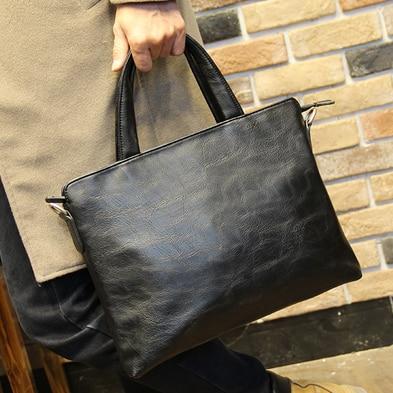 Men New PU Leather Briefcase, Black Fashion Business Handbag Cross Body Bags Office Laptop Computer Bag File Handbags XP715