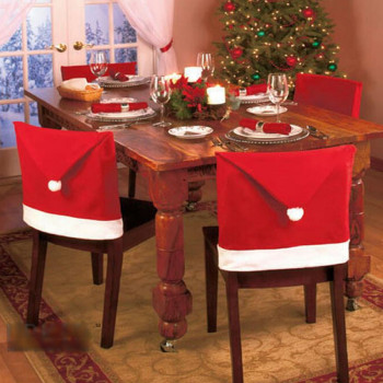 1pc Christmas Chair Back Cover Decoration Santa Clause Red Hat Christmas Decoration for Home New Year Decor