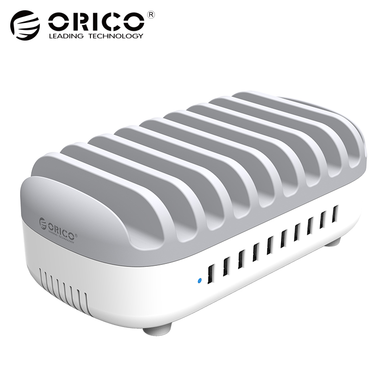ORICO 10 Portas USB Charger Dock Station com Suporte 120 w 5V2. 4A * 10 USB de Carregamento para o Telefone Inteligente Tablet PC Aplicar para Casa Pública