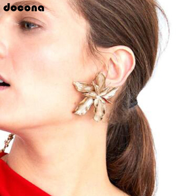 Docona Elegance Silver Gold Big Flower Drop Dangle Earring for Women Trendy Metal Floral Party Jewelry.jpg 640x640 - Docona Elegance Silver Gold Big Flower Drop Dangle Earring for Women Trendy Metal Floral Party Jewelry Gift Pendientes 3839