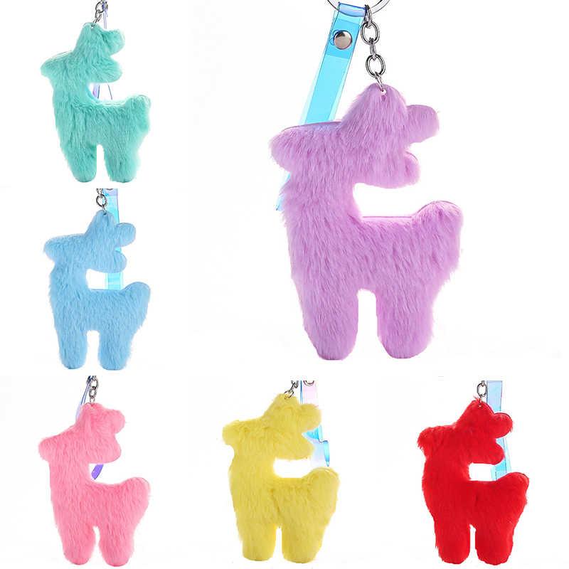 Keychain do luxuoso Animais Gato Porco Cervos Pompom Chave Titular Saco de Mulheres Da Moda Pingente Carro Chaveiro Chave Multicolor Cadeia de Presente Da Jóia
