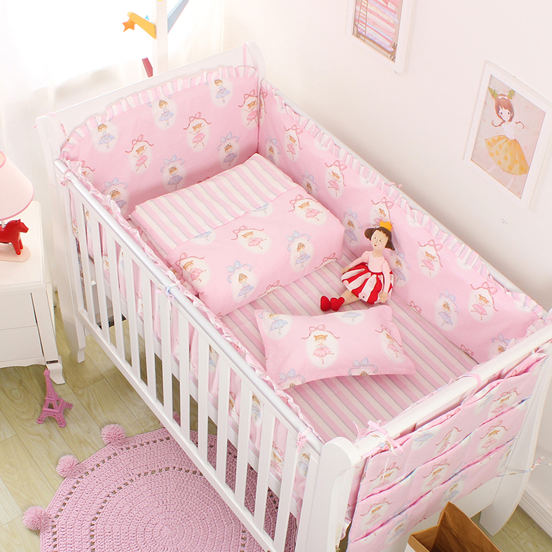 3/4/7pcs pink princess pattern baby bedding set crib bumper sheet pillowcase crib around protection breathable cotton for girl fashion pink arrows pattern square shape flax pillowcase without pillow inner
