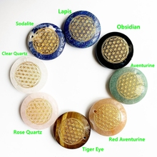 лучшая цена Natural Stone Carved Pendants Flower of Life Pendant for Diy Necklace Jewelry Sacred Geometry Charms Wholesale Dropship 1pc