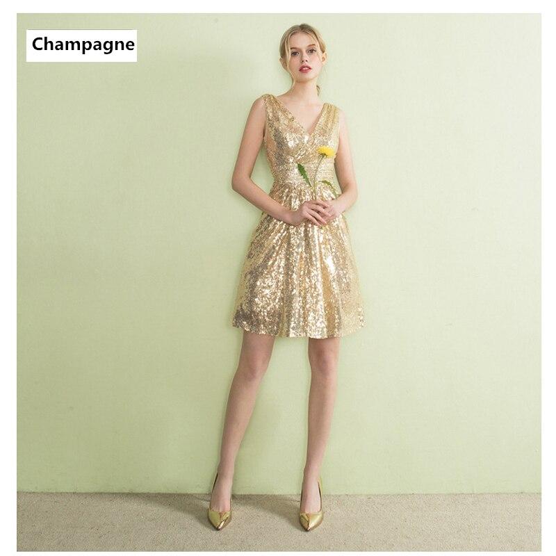 Simple V-neck Sequins Mini Vestidos De Festa Backless A-Line Short   Bridesmaid     Dresses   Robe De Soiree Prom Party Gowns