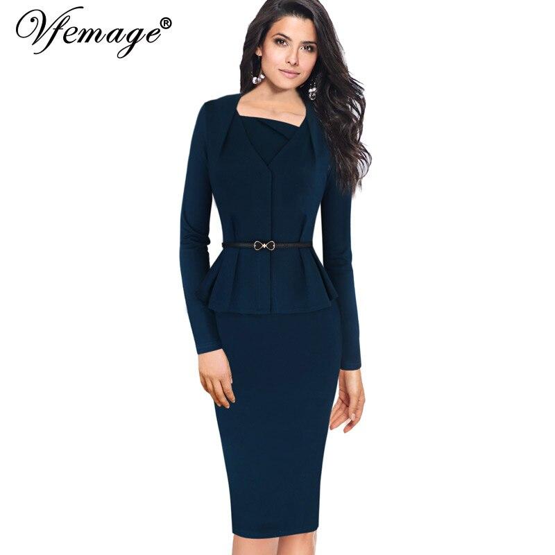Vfemage женщин элегантный баски тонкий туника поясом старинные повседневная одежда для работы бизнес-офис bodycon карандаш оболочка dress 4541