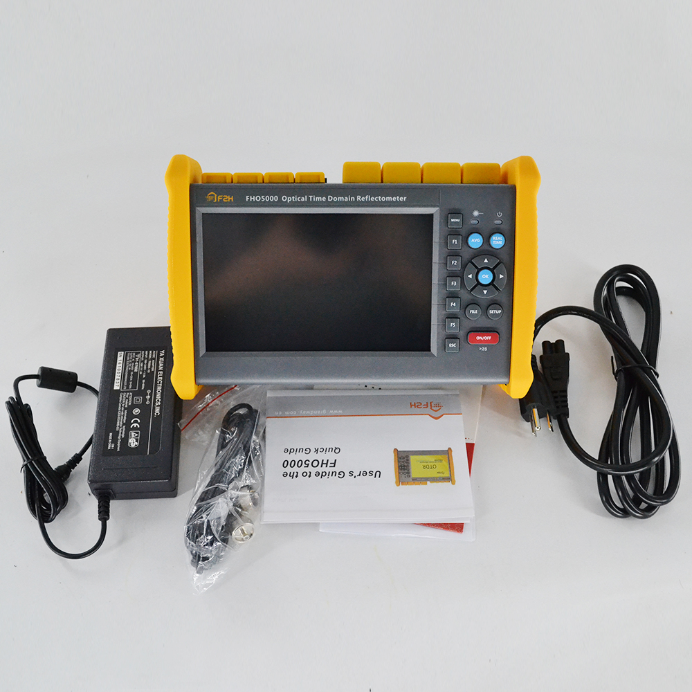 Touch screen FHO5000 MD21 SM MM 850 1300 1310 1550nm 19 21 35 33dB Multimode OTDR Built in VFL and power meter and FLM