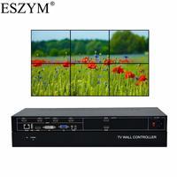 ESZYM 6 Channel Video Wall Controller 2x3 3x2 HDMI DVI VGA USB Video Processor with RS232 Control for 6 TV Splicing
