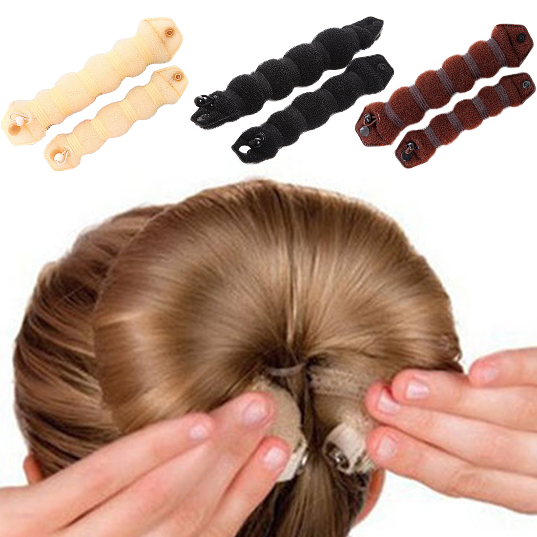2pcs Sponge Hair Styling Donut Bun Maker Magic Former Ring Shaper Styler Tool Women/girl beauty