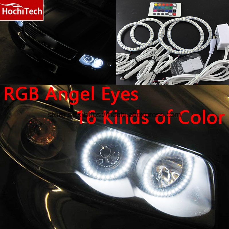 HochiTech RGB Multi-Color LED Angel Eyes Halo Rings kit super brightness car styling for audi A4 B6 2000 - 2006 hochitech excellent rgb multi color halo rings kit car styling for volkswagen vw golf 5 mk5 03 09 angel eyes wifi remote control