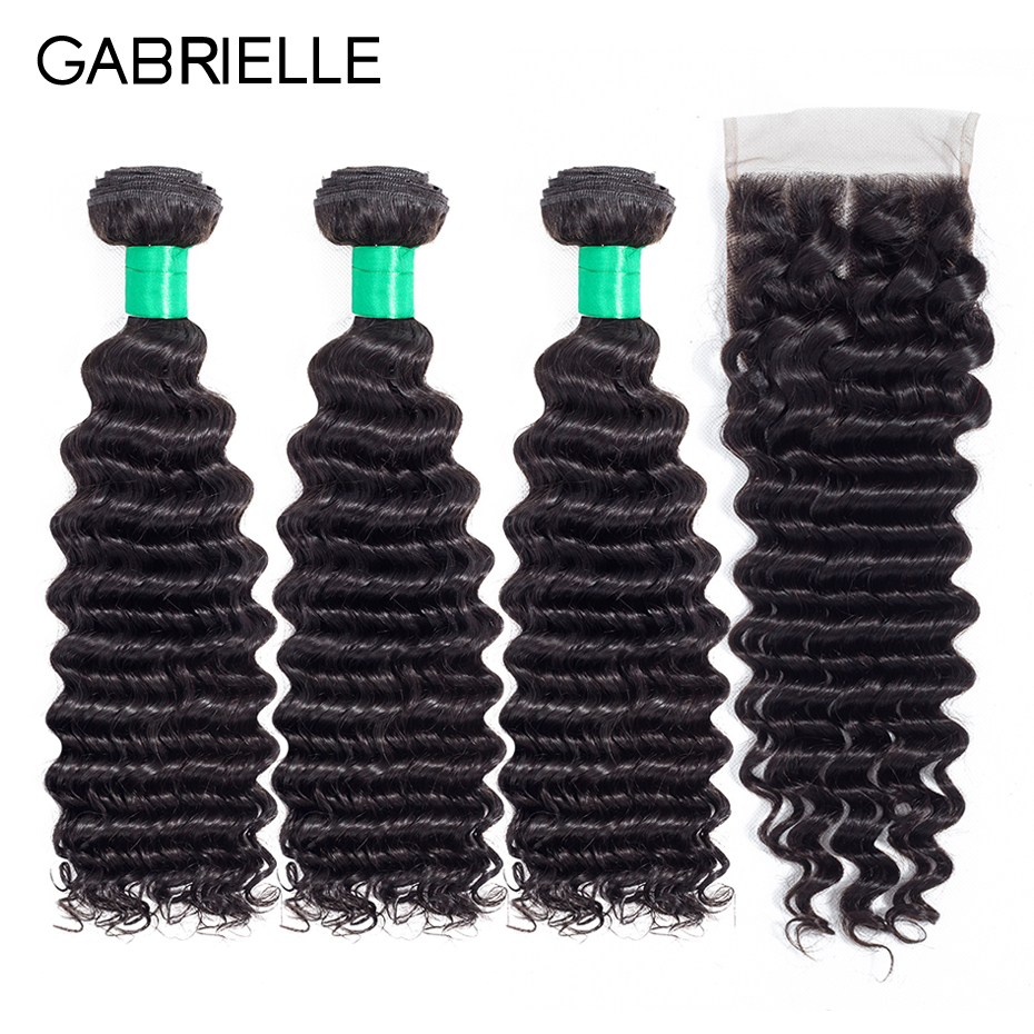 Gabrielle Human Hair Brazilian Deep Wave 3 Bundles with Lace Closure Free/Middle/Three Part Natural Color Non Remy Hair Weaves
