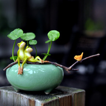 цена на New modern Frog flowerpot miniature figurines Mini Ceramic flower vase Arts and Crafts fairy garden home decoration accessories